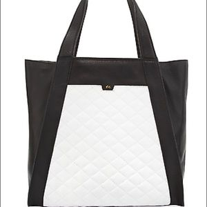 F+C Cushion Quilted Colorblock Leather Tote B+W